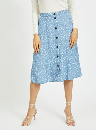 Modrá kvetovaná sukňa s gombíkmi VILA Flikka