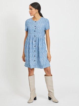 Modré kvetované šaty s gombíkmi VILA Flikka