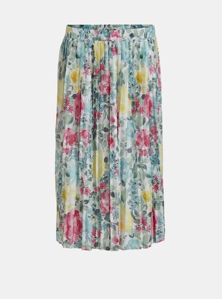 Ružovo-modrá kvetovaná plisovaná sukňa VILA Orlanda