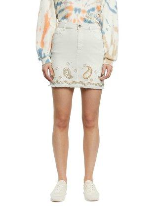 Krémová džínová sukně Desigual Fal Billi Jeans