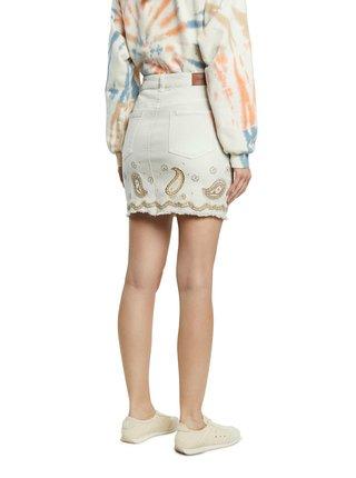 Krémová rifľová sukňa Desigual Fal Billi Jeans