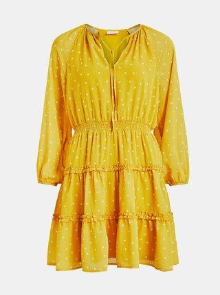 Žluté puntíkované šaty s volány VILA Dotties
