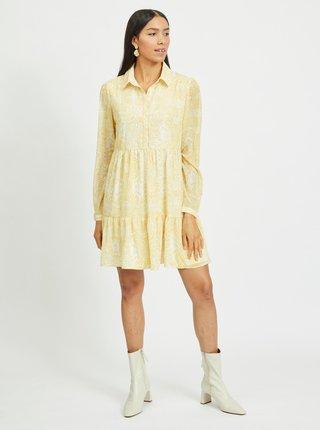 Žlté vzorované košeľové šaty VILA Plissea