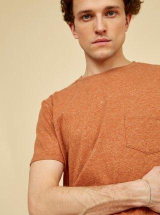 Hnědé pánské žíhané tričko s kapsou ZOOT Sheldon