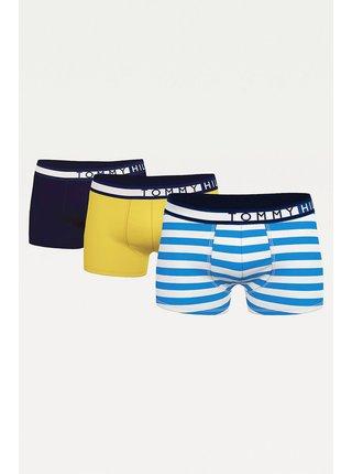 Sada třech boxerek v modré a žluté barvě Tommy Hilfiger