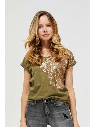 Khaki dámské tričko Moodo