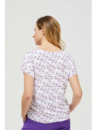 Bílé dámské květované tričko Moodo