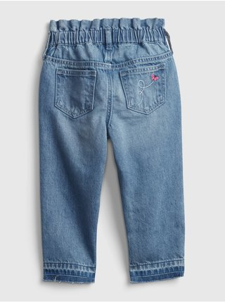 Modré holčičí dětské džíny mom rufl- med emb