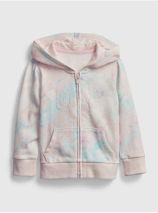 Detská mikina GAP Logo tie-dye hoodie Ružová