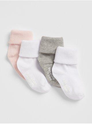 Barevné holčičí dětské ponožky roll crew socks, 4 páry