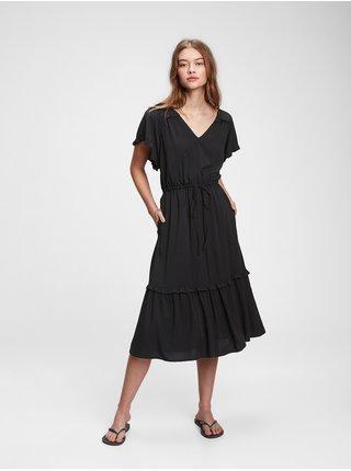 Šaty flutter sleeve midi dress Čierna