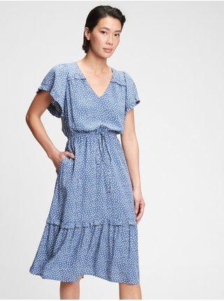Modré dámské šaty fltr slv midi