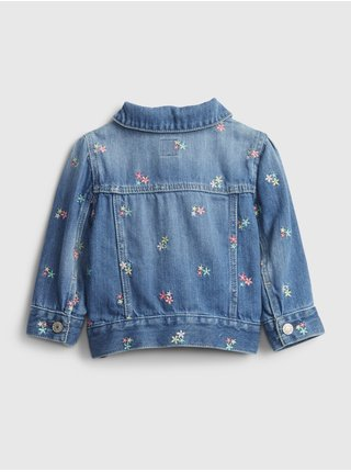 Baby bunda embroidered floral denim jacket Modrá
