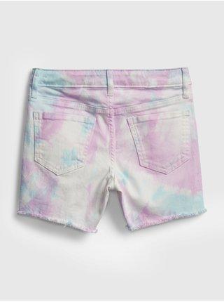 Detské džínsové kraťasy midi tie-dye denim shorts with stretch Farebná