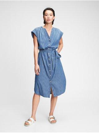 Šaty midi shirtdress Modrá