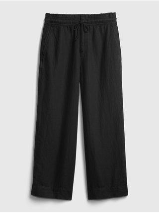 Černé dámské kalhoty hr linen wide leg