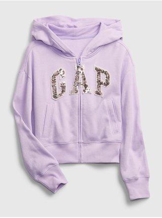Fialová holčičí dětská mikina GAP Logo ie ft basic arch fz - feb