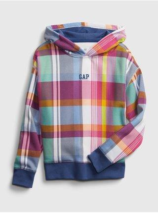 Detská mikina GAP Logo plaid hoodie Farebná