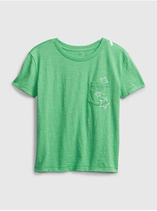 Detské tričko print pocket Zelená