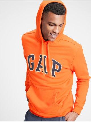 Oranžová pánská mikina GAP Logo v-fleece arch po snl