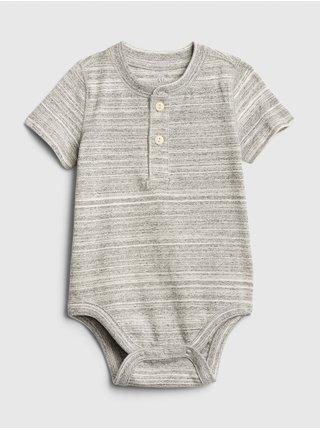 Šedé klučičí baby body henley short sleeve bodysuit