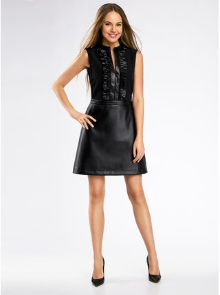 Šaty kombinované se sukní z umělé kůže OODJI
