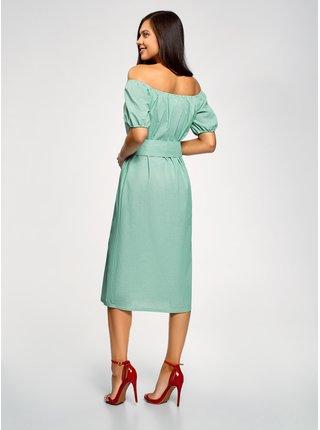 Šaty s opaskom a raglánovými rukávmi OODJI