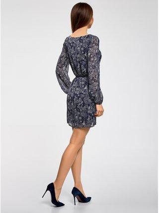Šaty z šifónu s páskem OODJI