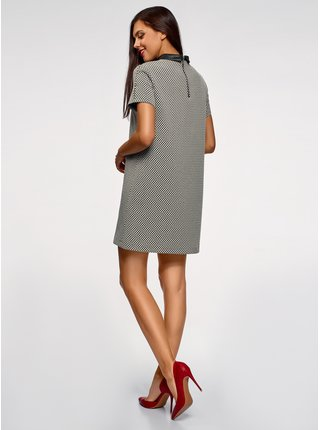 Šaty volného střihu s límečkem z umělé kůže OODJI
