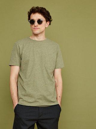 Khaki pánské žíhané tričko s kapsou ZOOT Sheldon