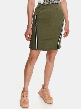 Zelená pouzdrová sukně s lampasem TOP SECRET