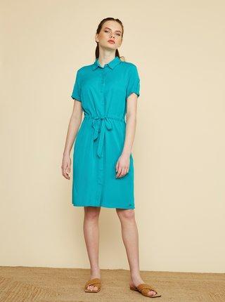 Tyrkysové košeľové šaty ZOOT Nere