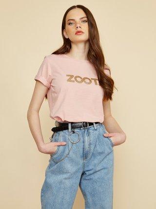 Světle růžové dámské tričko s potiskem ZOOT Lucy