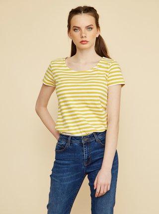 Bílo-žluté dámské pruhované tričko ZOOT Baseline Amber