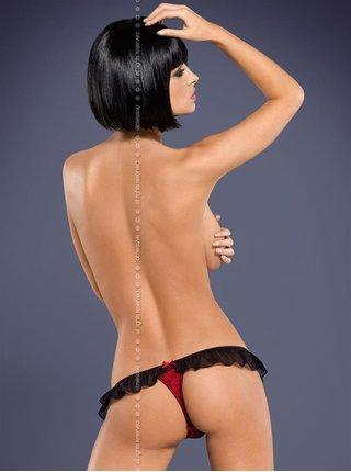 Dámské tanga Lamia thong - Obsessive černá/červená