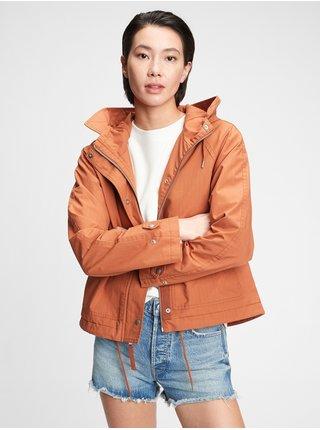 Oranžová dámská bunda cropped anorak