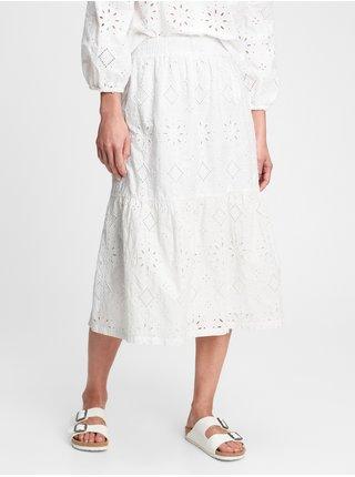 Bílá dámská sukně eyelet midi sk