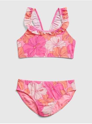 Detské plavky recycled ruffle floral bikini Ružová