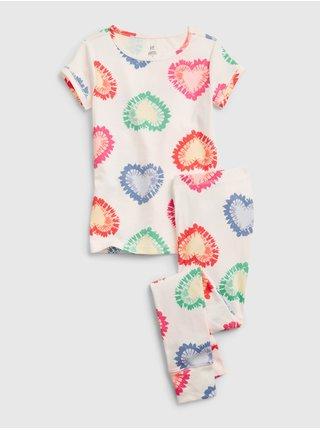 Bílé holčičí dětské pyžamo kids organic heart pj set