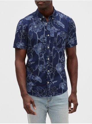 Modrá pánská košile v-sp 20 ss poplin slim
