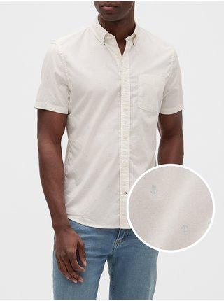 Bílá pánská košile v-sp 20 ss poplin slim