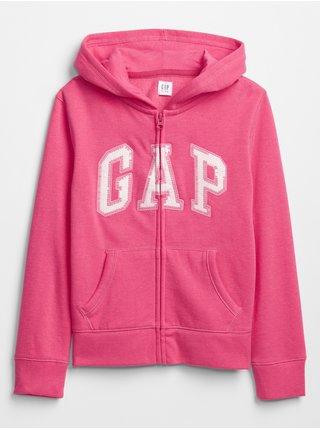 Detská mikina GAP Logo zip hoodie Ružová