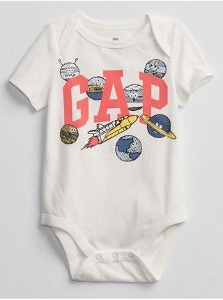 Bílé klučičí baby body GAP Logo v-b bf bs
