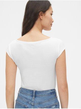 Bílé dámské tričko modern boatneck