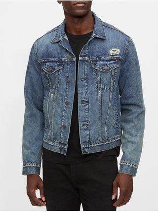 Modrá pánská džínová bunda v-destroy denim icon