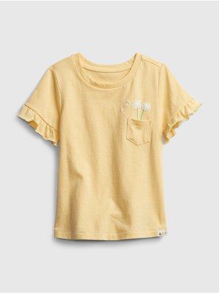 Žluté holčičí dětské tričko ruffle ss ptf pocket t 3