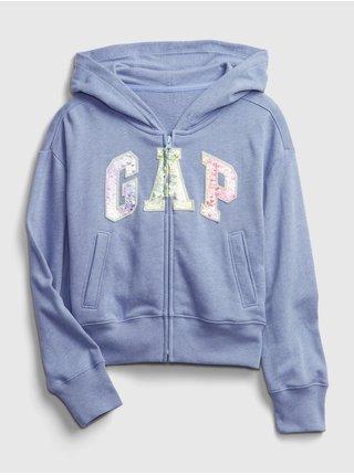 Modrá holčičí dětská mikina GAP Logo fz hoodie