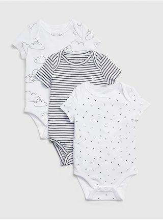 Barevné baby body print short sleeve bodysuit, 3ks