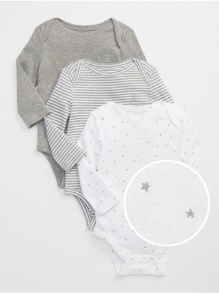 Baby body first favorite long sleeve bodysuit, 3ks Šedá