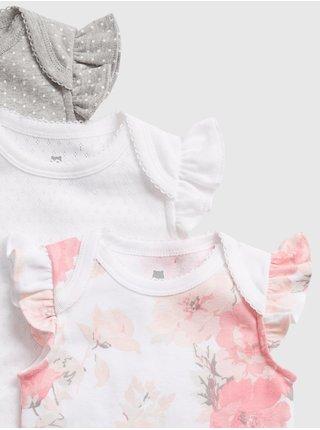 Baby body ruffle bodysuit, 3ks Biela